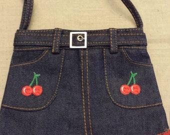 Denim Skirt Purse - Cherries and Lips with Red Trim