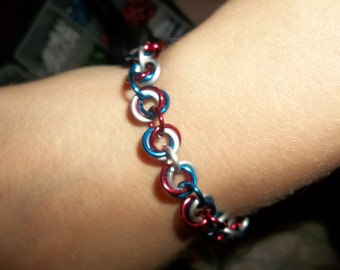 Mobius Red, White, and Blue Bracelet