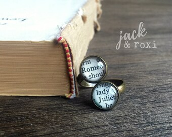 ROMEO AND JULIET double book page ring, vintage bronze ring, Shakespeare ring, book page jewelry, adjustable ring, literary jewelry