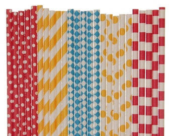 Paper Straw Mix, Circus Red Yellow Bright Blue Polka Dot Striped Diamond Paper Straws, Carnival Party Decor, Birthday Party Supplies, Straws