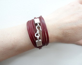 EXPRESS SHIPPING,Wrap Leather Bracelet,Burgundy Real Leather Bracelet,Multi-strand Cuff,Bangle,Charm Bracelet,Gift for her,Mother's Day Gift