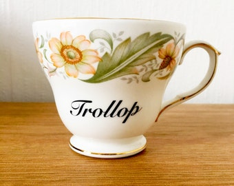 Trollop | Custom Swear Teacup | Made To Order | Funny Rude Insult Obscenity Profanity | Unique Gift Idea