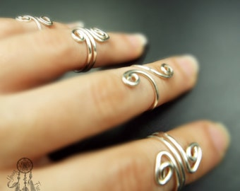 Knuckle Ring/Upper finger ring/Mid finger/Adjustable Midi Ring/Toe/Silver Plated Wire Boho/Bohemian/Hippie/jewellery/Gift ideas for her/
