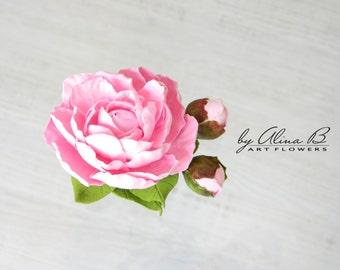 Peonies - barrettes - brooch handmade from polymer clay