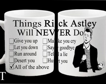 Rick Astley Meme Funny Mug Gift Birthday Present Never Gonna Give You Up