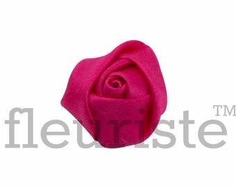 HOT PINK Rosette, Satin Rolled Rosette, Fabric rose, Rolled Rosette, Wholesale Flower, Fabric Flower, Wedding Flower, Flower Embellishment