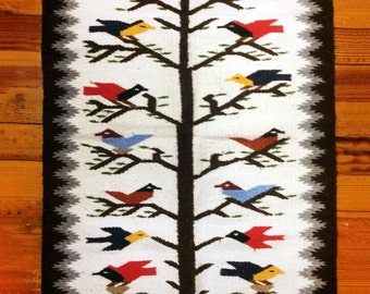 Southwestern Tribal Woven Rug Wall Hanging Bird Motif
