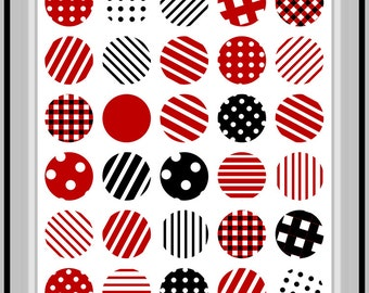 Abstract Red and Black Circles Printable Poster Art 8x10 inch Instant Download (1048) Printable Room Decor, Office Decor, Home Wall Decor