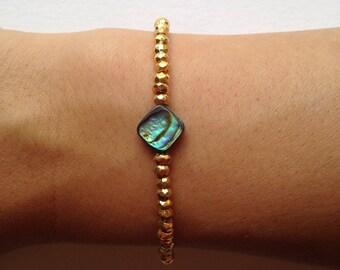 Gold & Abalone Bracelet
