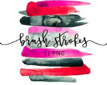 Brush Strokes Clip Art Watercolor PNG Scarlett Red PurplePink Indigo Grey Ink Paint Debs Logo Digital Design Resource Graphic Elements
