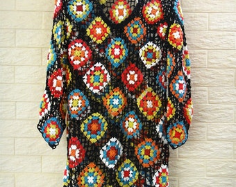 Granny Square Crochet Dress with Sleeves