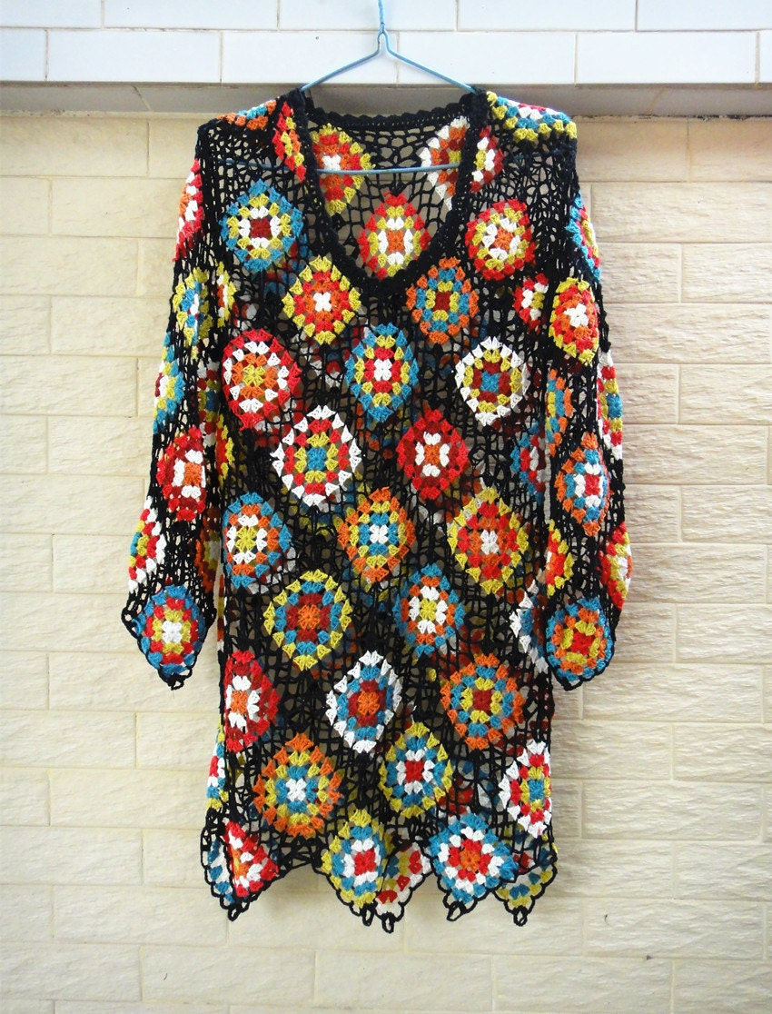 Crochet Granny Square Dress Patterns : Granny Square Crochet Dress with Sleeves