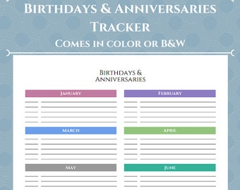 """Dates to Remember: Birthday and Anniversary Tracker - Color or B&W - Full Page / A4 / 8.5"""" x 11"""""""