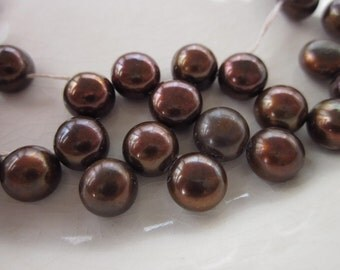 "Chocolate Brown Freshwater Button Pearls, 8mm, Top-Drilled, 12"" Strand"