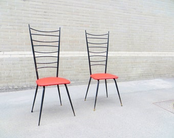 Pair of chairs 50s vintage 20th mid-century chairs