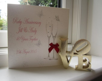 Personalised 40th Ruby Anniversary Card - Flutes Design PPS11R