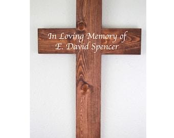 Large Wooden Cross, Rustic Cross, Memorial Cross, Gallery Wall, Rustic Home Decor, Personalized Cross, Custom Cross