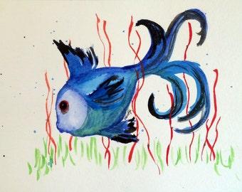 Blue fish in red seaweed watercolor-PRINT