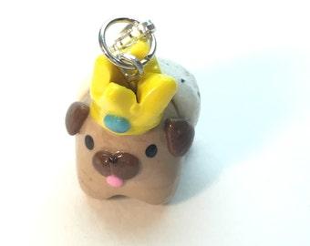 Polymer Clay King Pug Charm