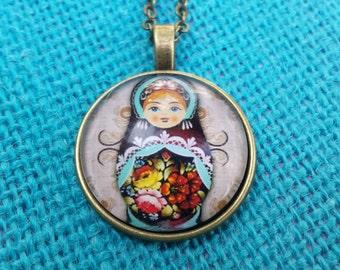 Glass Matryoshka Russian nesting doll pendant necklace