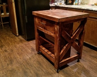 LOCAL PICKUP: Rustic X Small Rolling Kitchen Island, Kitchen Table, Made To  Order