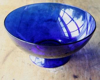 Vintage Footed Pedestal Cobalt Blue Serving Bowl