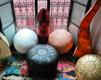 items similar to moroccan pouffes ottoman poufs brown carved leather arabian desert design. Black Bedroom Furniture Sets. Home Design Ideas