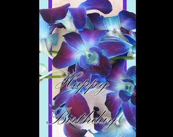 Happy Birthday Card 'GC013', orchids, purple, blue, lovely, flowers, flower, Singapore, Australian, greeting.