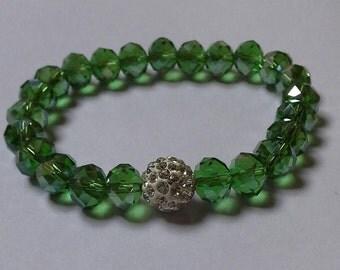 Green Crystal Bead Bracelet