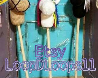 Handmade crocheted hobby horse or unicorn
