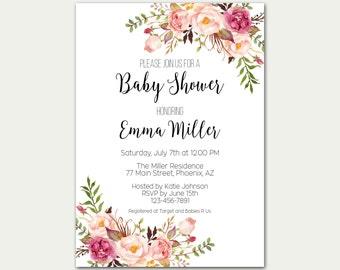 Baby Shower Invitation, Baby Shower Invite, Baby Shower Printable, Floral Baby Shower, Chic Baby Shower, DIY Baby Shower, Baby Garden Party