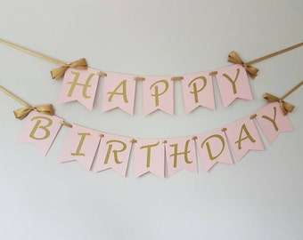 Happy birthday banner. Wall banner. Pink and gold. Smash cake. First birthday banner. Birtday girl. Birthday boy. Party decorations
