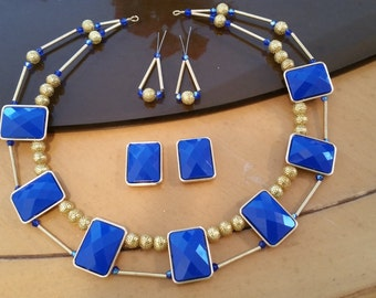 Royal Blue and Gold tone Necklace Set