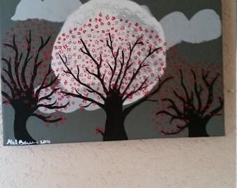 Abstract Cheery Blossom Trees