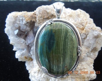 Larsonite Cabochon Pendant, Gary Green Jasper Pendant Set in a Nautical Themed .925  Sterling Silver Mounting