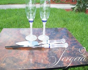 Something Blue Rhinestone Champagne Flutes And Cake Server Set, Toasting Glasses, Personalized, Wine Glass, Cake Knife, Toasting Flute,