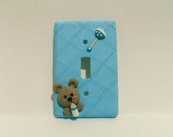 Baby Boy Nursery  Lightswitch Plate Cover Polymer Clay