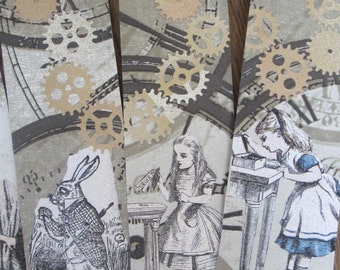Alice in Wonderland Steampunk style bookmarks x 5