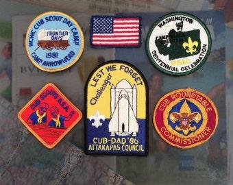 Vintage Cub Scout Badges, Set of Six