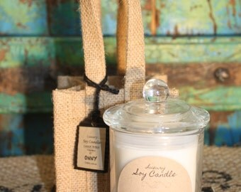 Small Soy Candle - Coastal Breeze in Hessian Bag