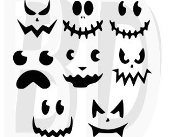 Jack O Lantern Faces Cut File SVG, eps, dxf, cricut air, silhouette, cameo, scan and cut, cutting files, vinyl cut file, instant download