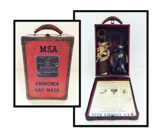 Antique 1940s MSA Ammonia Gas Mask in Original Carrying Case, Vintage