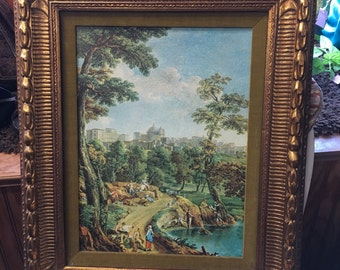 "Large Syroco Framed Anesi-Monaldi ""North of Rome"""