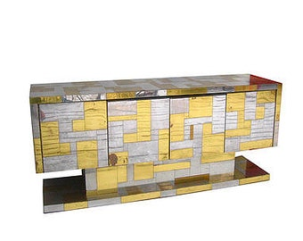 Paul Evans City Scape brass and chrome credenza