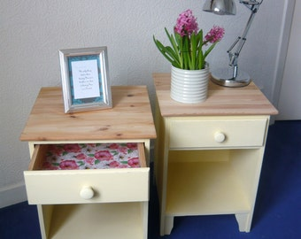 Nightstands night tables units bedsite site cupboard shabby chic cottage hand painted distressed upcycled pine wood