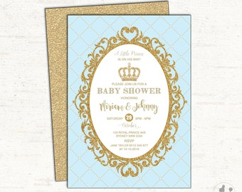 prince baby shower invitation baby blue and gold party invite prince invitation glitter