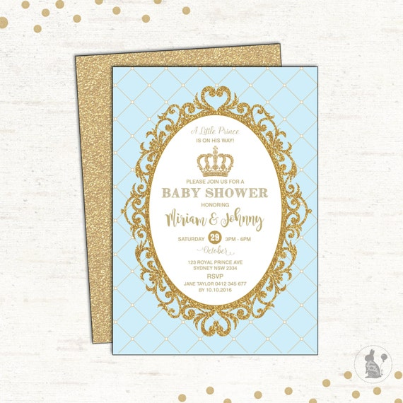 PRINCE BABY SHOWER Invitation Baby Blue and Gold Party Invite