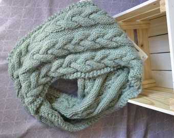 Knitted cables chunky infinity oversized mint green scarf, comfy and warm for winter and spring - cozy fashion for her - women winter wear