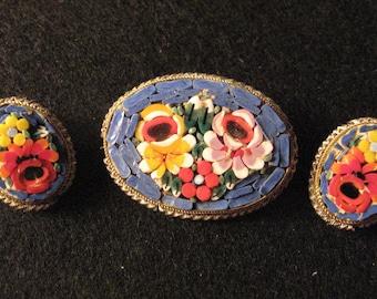Micro Mosaic Brooch and Earrings