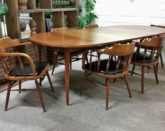 Vintage Mid Century Modern Dining Table Kipp Stewart Drexel Declaration, 6 Chairs RARE! PRICE REDUCED!!